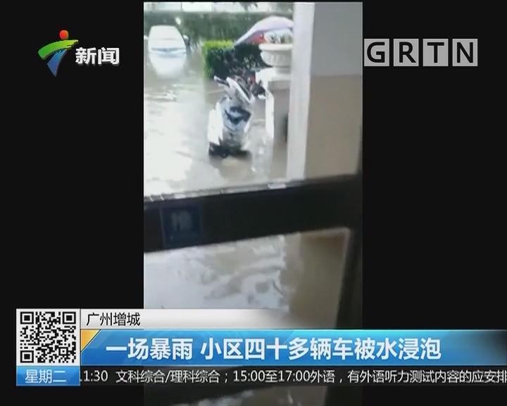 广州增城:一场暴雨 小区四十多辆车被水浸泡