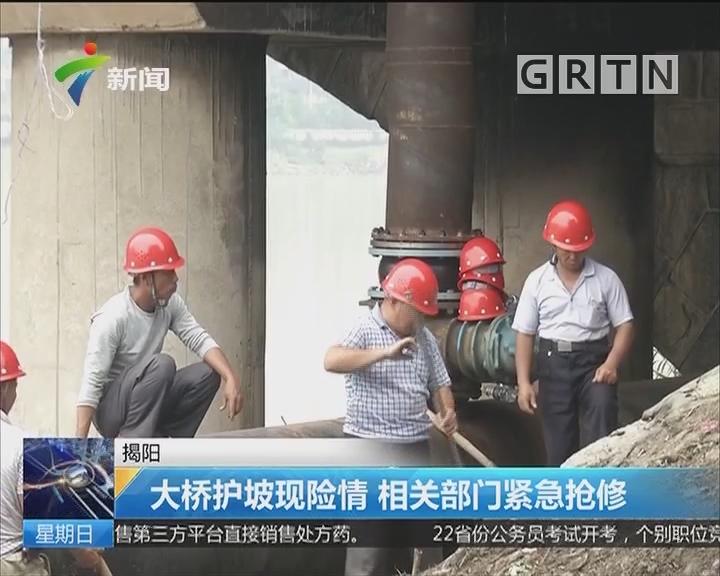 揭阳:大桥护坡现险情 相关部门紧急抢修