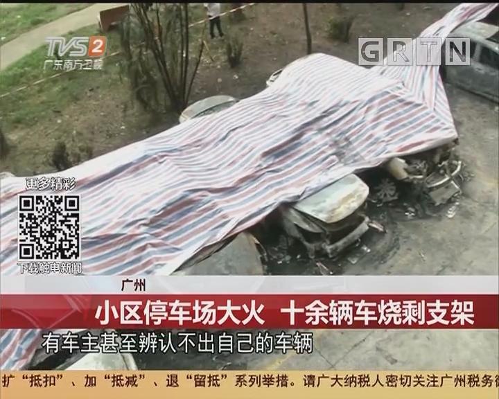 广州:小区停车场大火 十余辆车烧剩支架