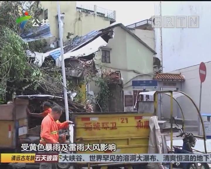 东莞:暴雨致大树倒下 临街房屋受损