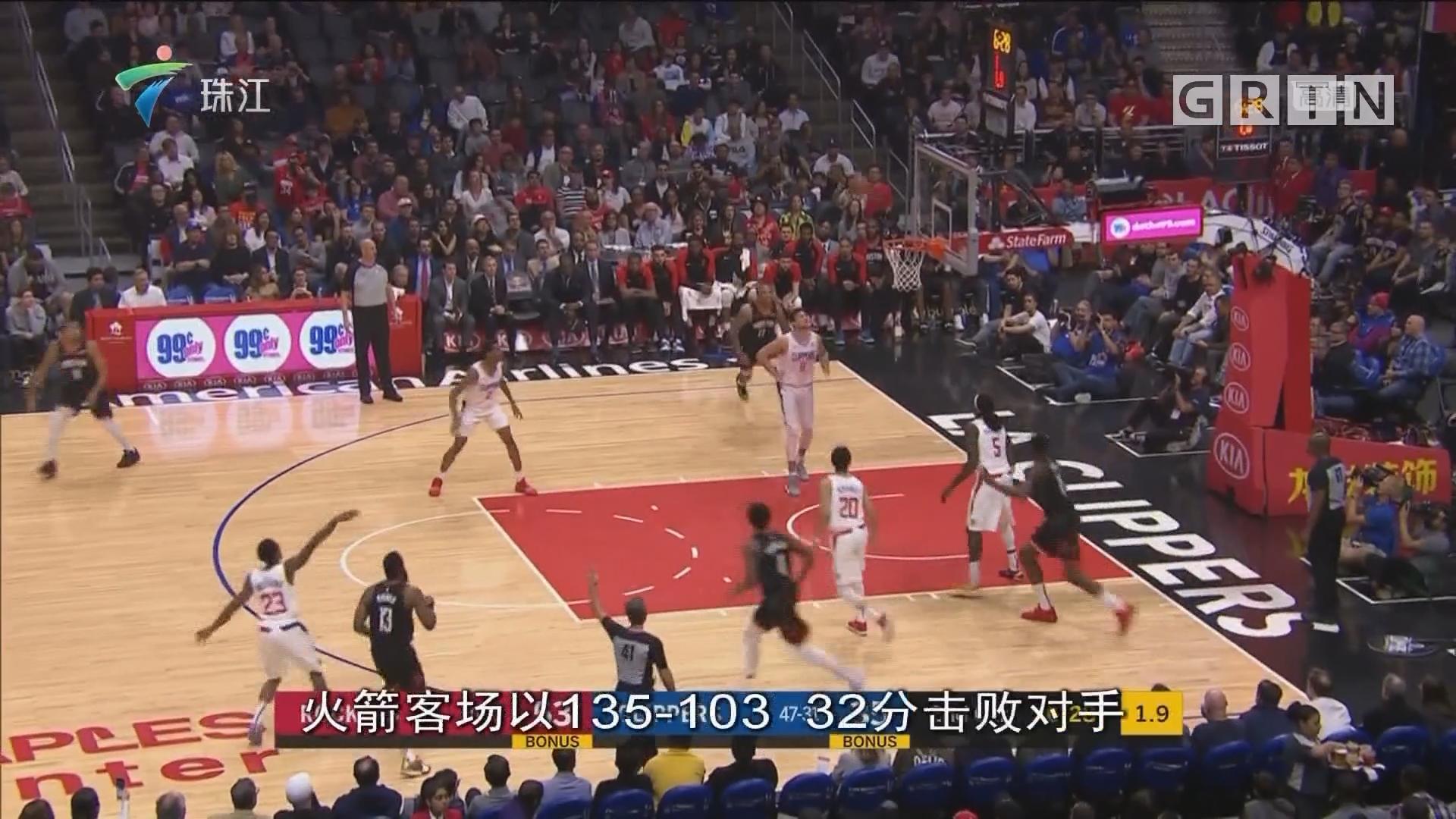 NBA:火箭击败快船 豪取四连胜