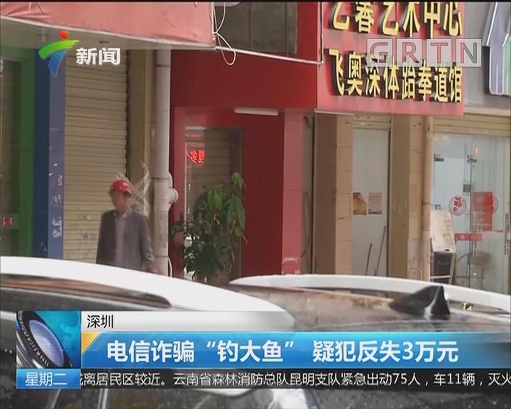 """深圳:电信诈骗""""钓大鱼"""" 疑犯反失3万元"""