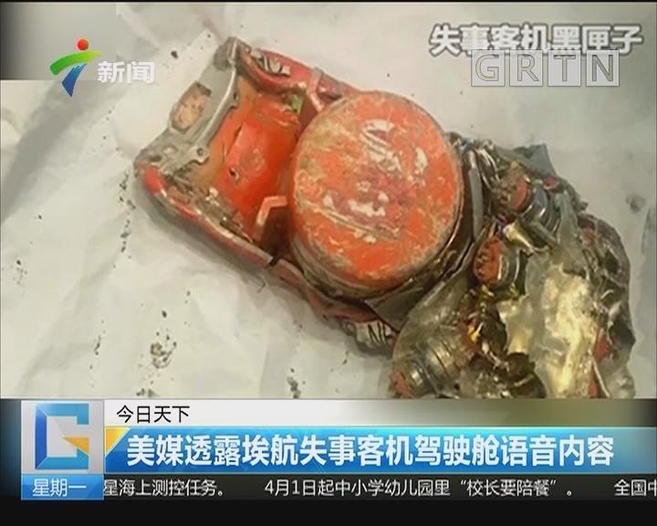 美媒透露埃航失事客机驾驶舱语音内容
