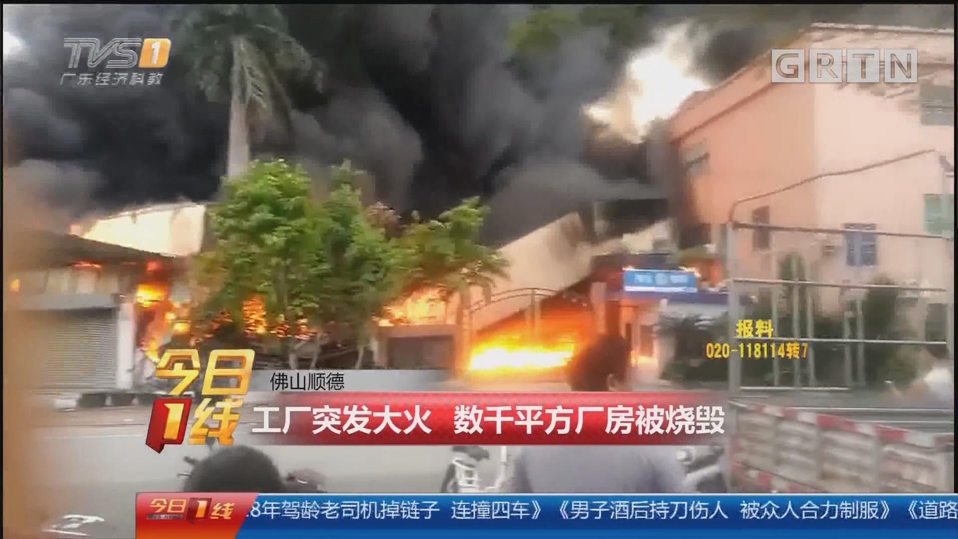 佛山顺德:工厂突发大火 数千平方厂房被烧毁