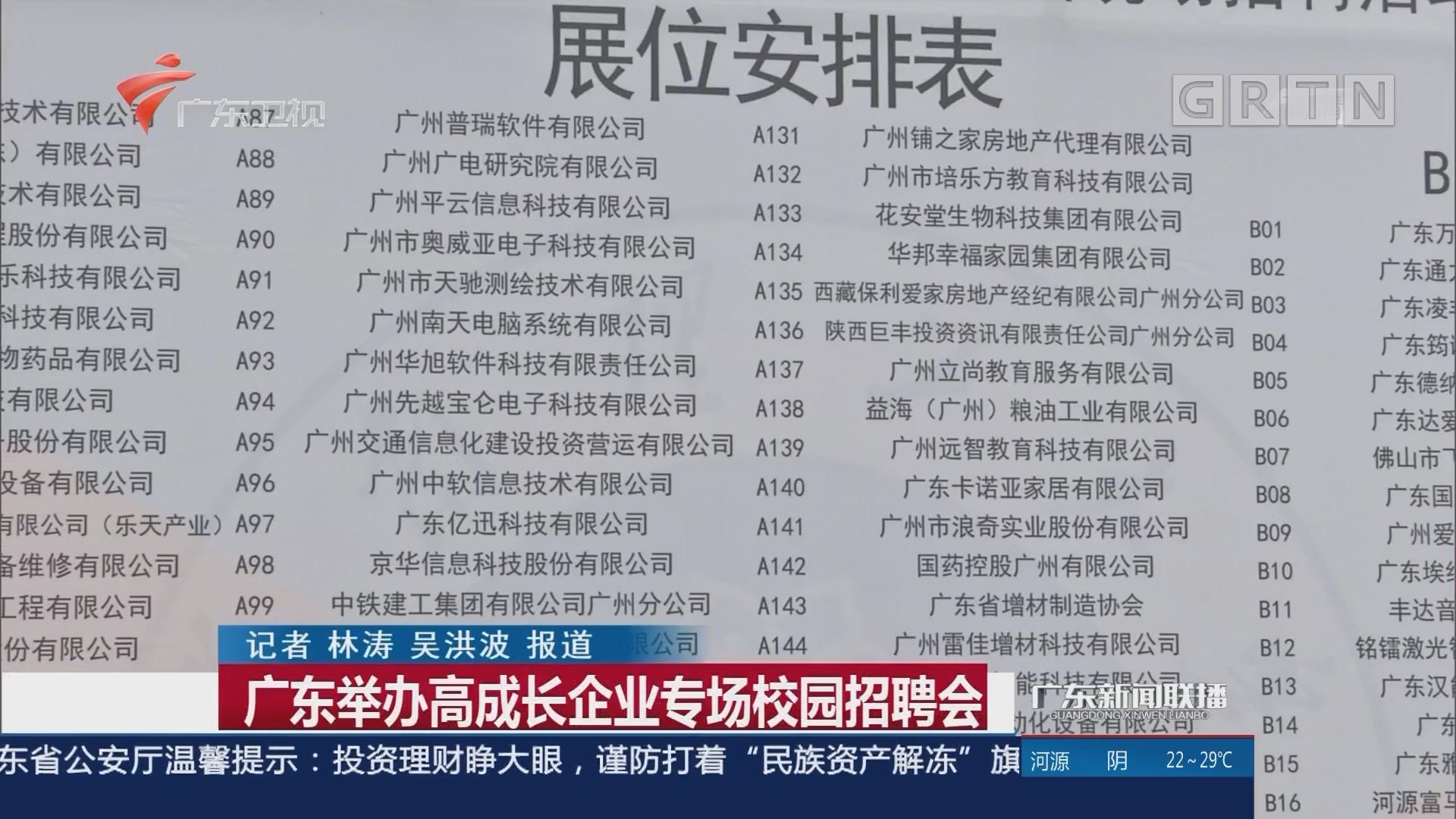 广东举办高成长企业专场校园招聘会