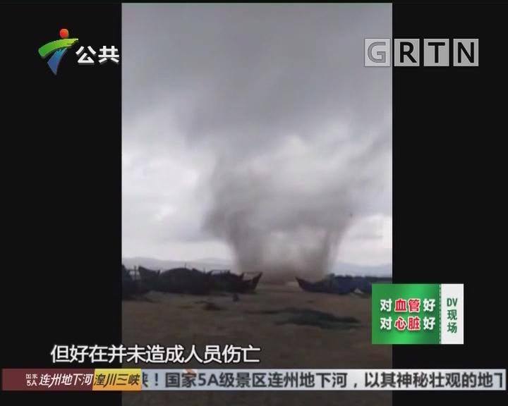 村民报料:龙卷风突袭海面 渔船瞬间被掀翻