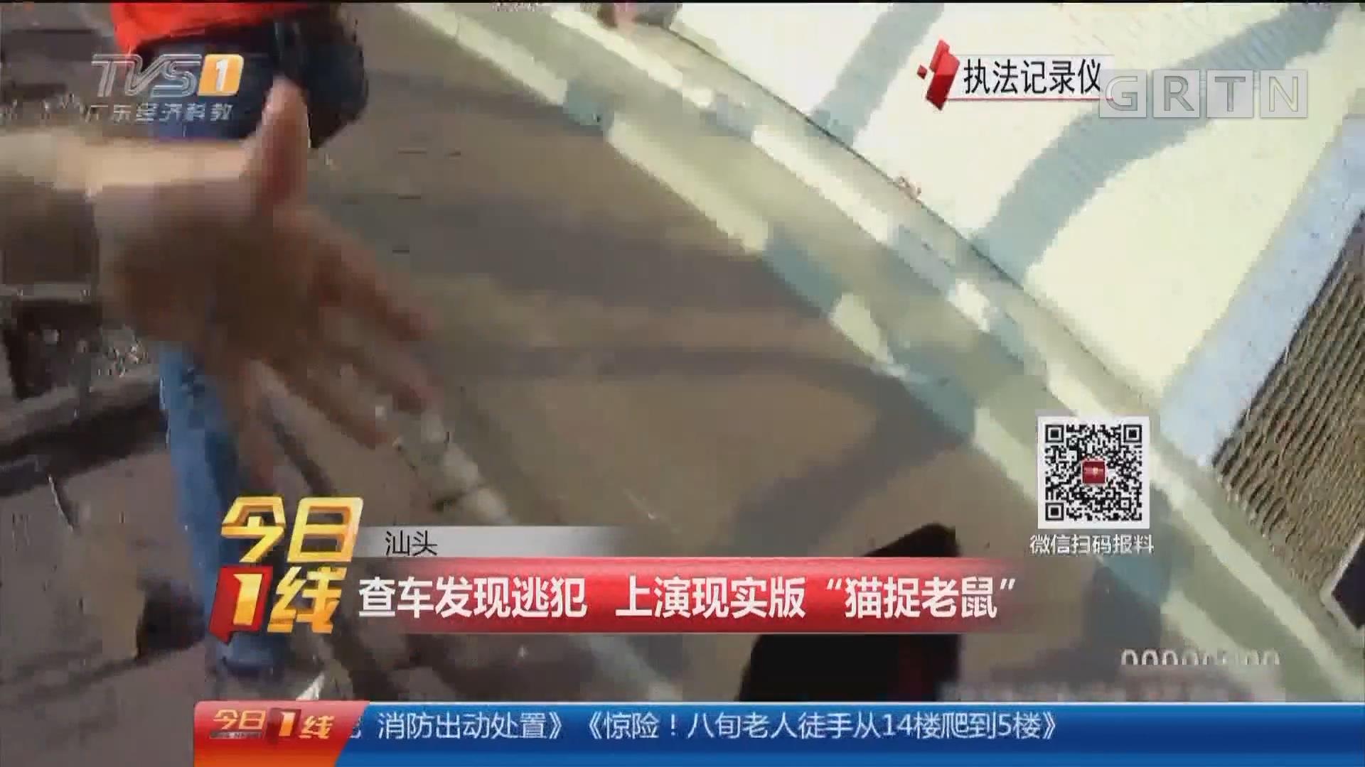 """汕头:查车发现逃犯 上演现实版""""猫捉老鼠"""""""