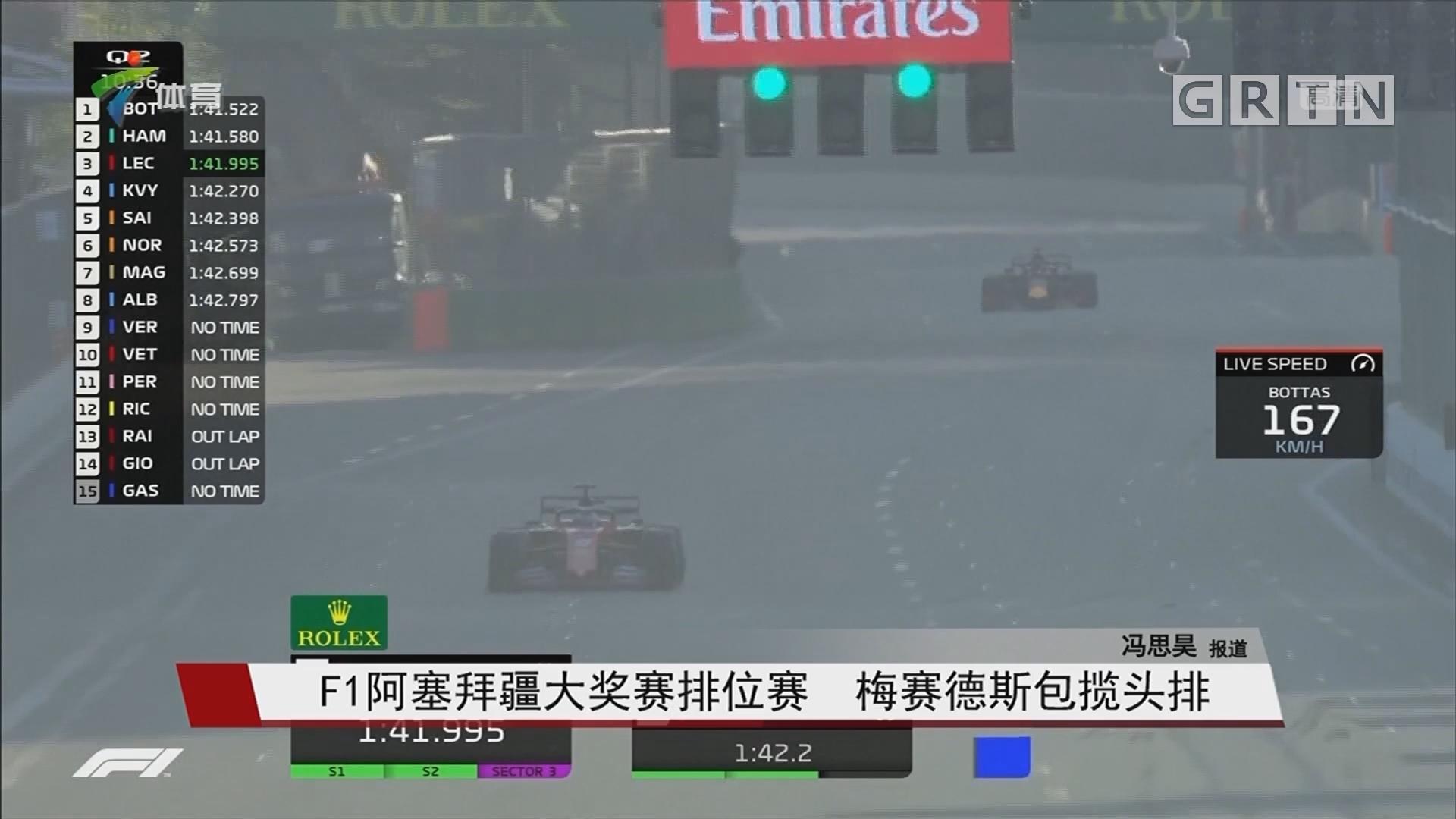 F1阿塞拜疆大奖赛排位赛 梅赛德斯包揽头排