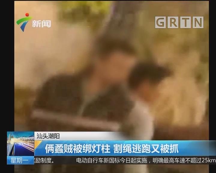 汕头潮阳:俩蟊贼被绑灯柱 割绳逃跑又被抓