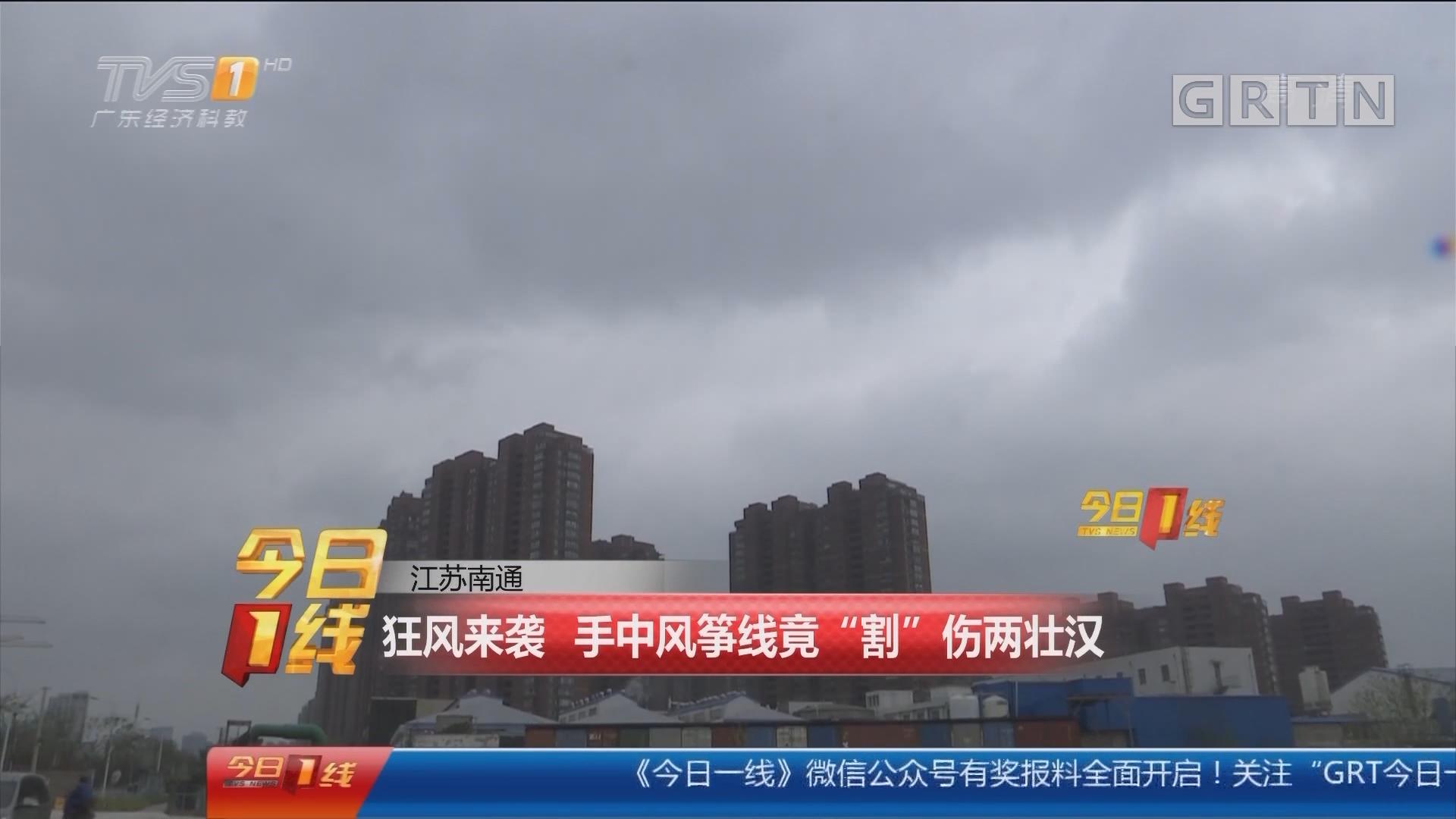 """江苏南通:狂风来袭 手中风筝线竟""""割""""伤两壮汉"""