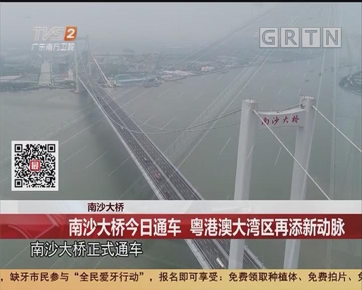 南沙大桥:南沙大桥今日通车 粤港澳大湾区再添新动脉