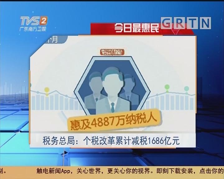 今日最惠民 税务总局:个税改革累计减税1686亿元