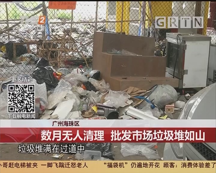 广州海珠区:数月无人清理 批发市场垃圾堆如山