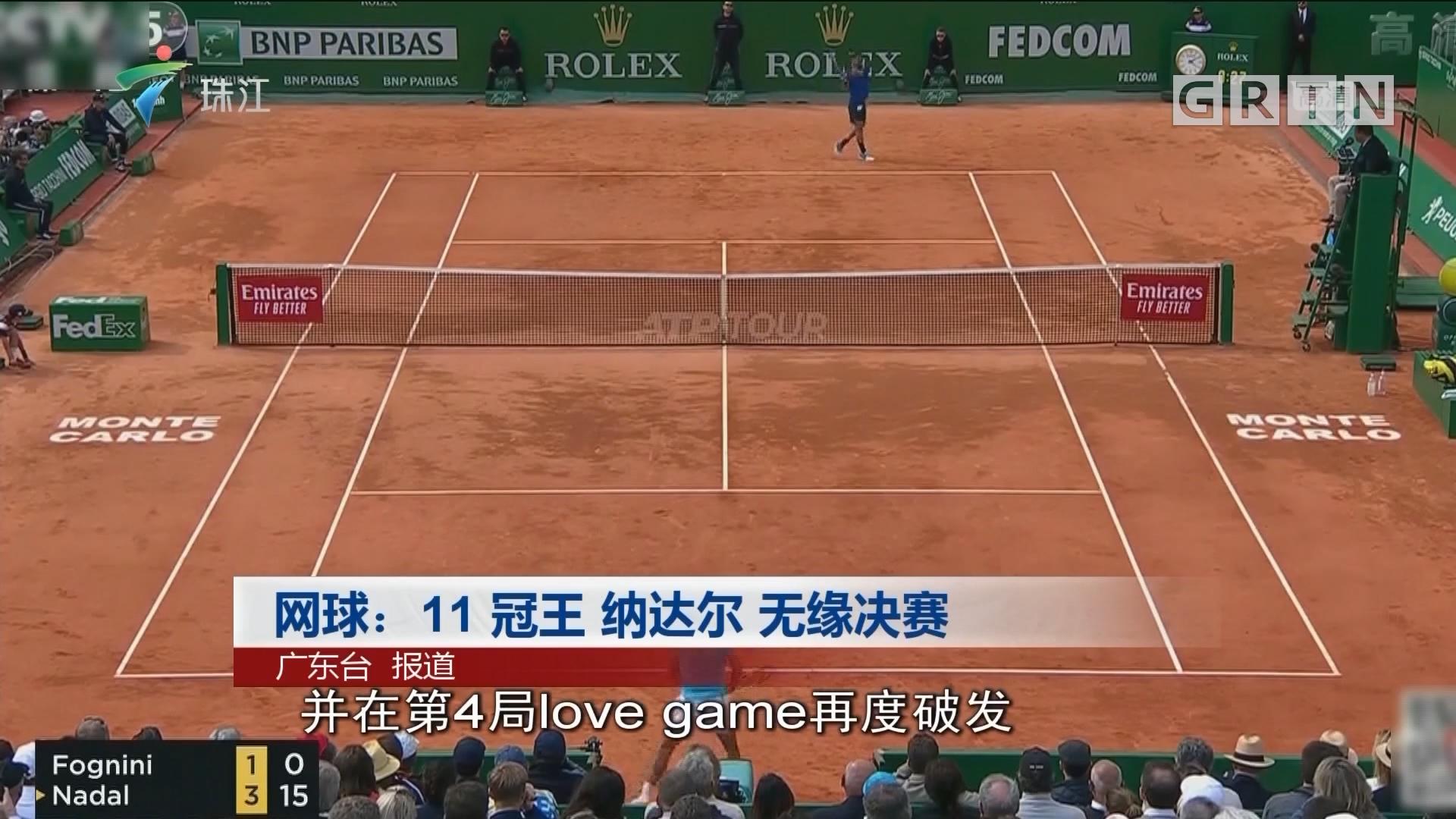 网球:11冠王 纳达尔 无缘决赛