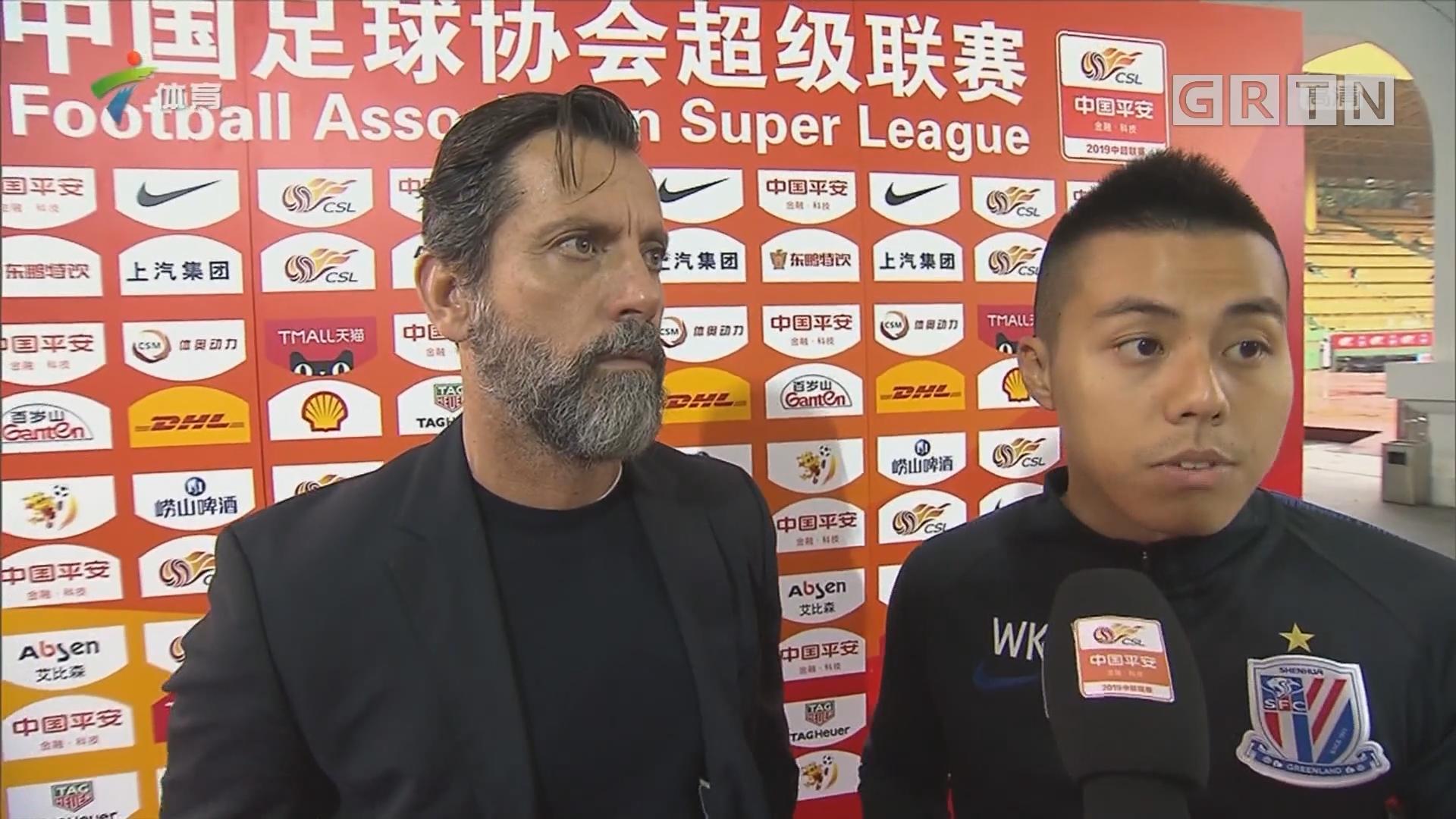 广州富力vs上海绿地申花对主教练的采访