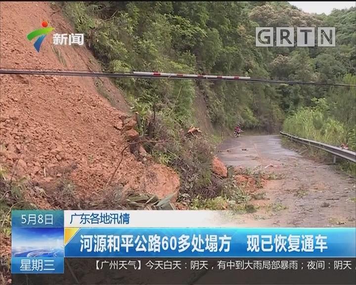 广东各地汛情:河源和平公路60多处塌方 现已恢复通车