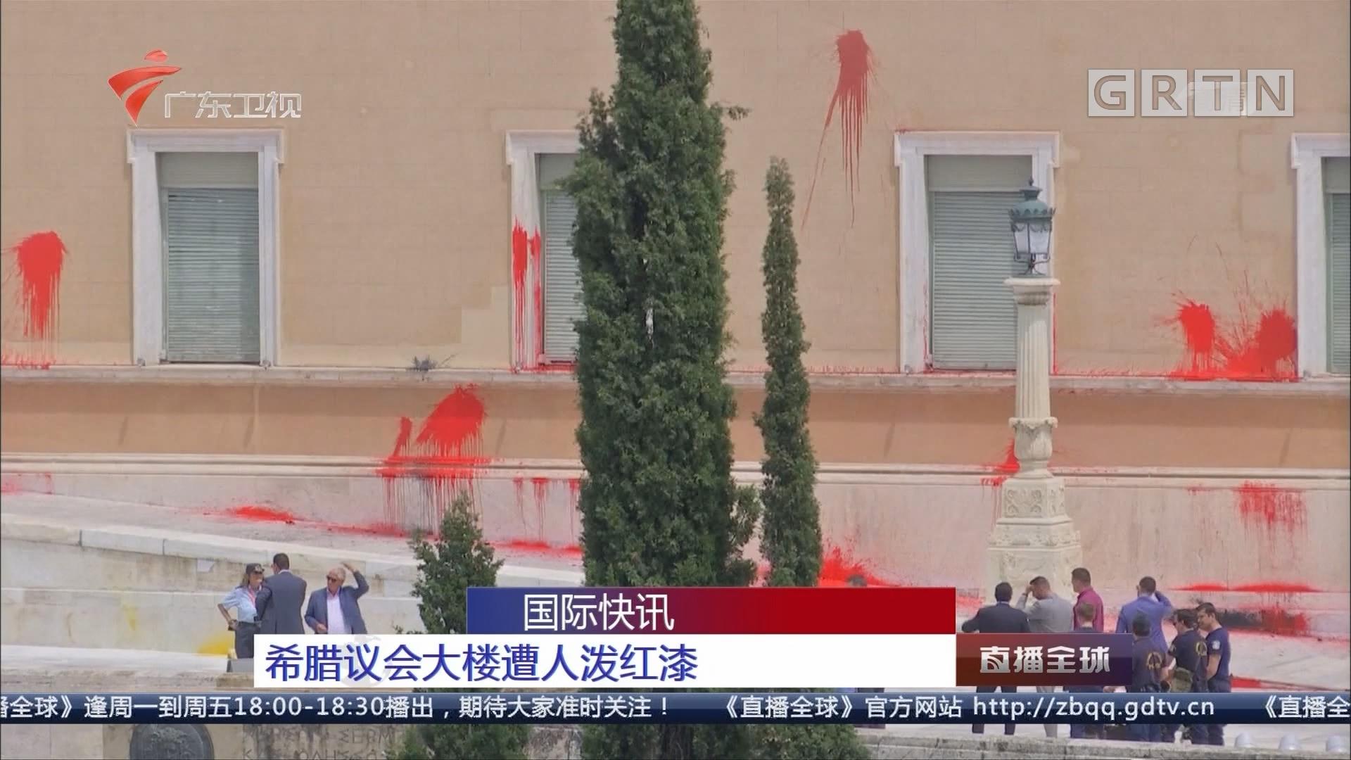 希腊议会大楼遭人泼红漆