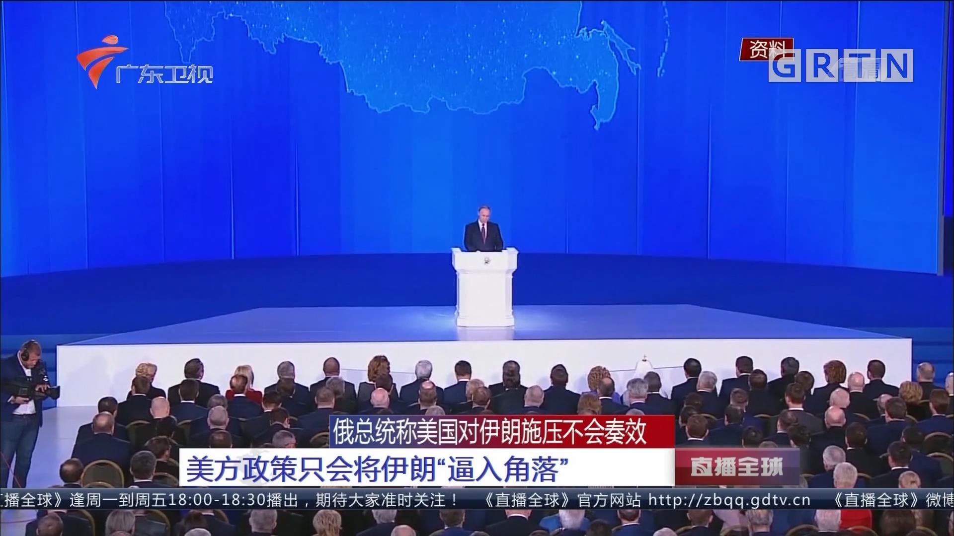 """俄总统称美国对伊朗施压不会奏效:美方政策只会将伊朗""""逼入角落"""""""