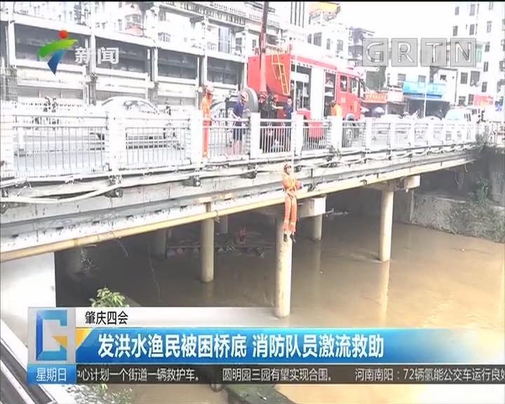 肇庆四会:发洪水渔民被困桥底 消防队员激流救助
