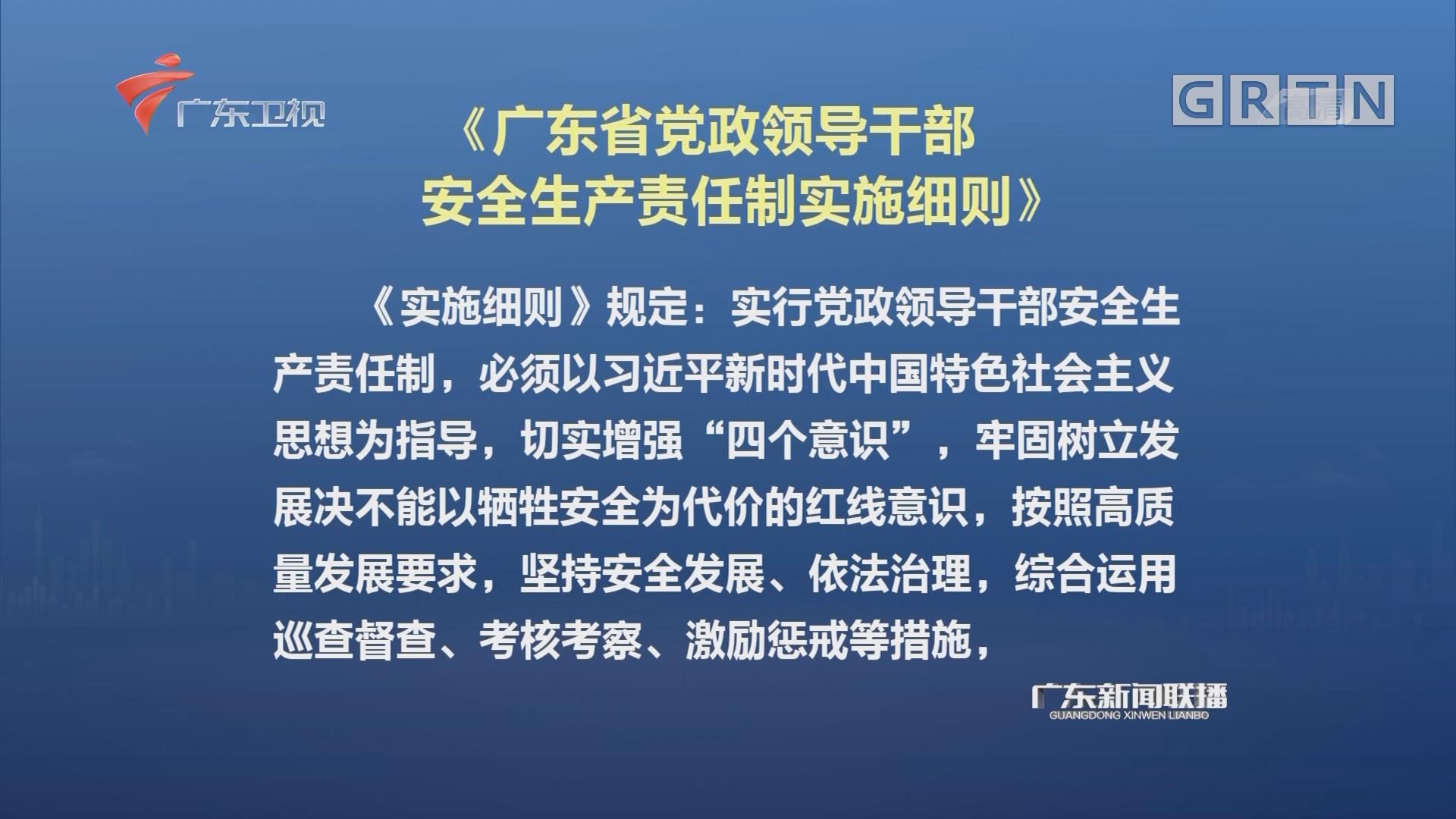 《广东省党政领导干部安全生产责任制实施细则》