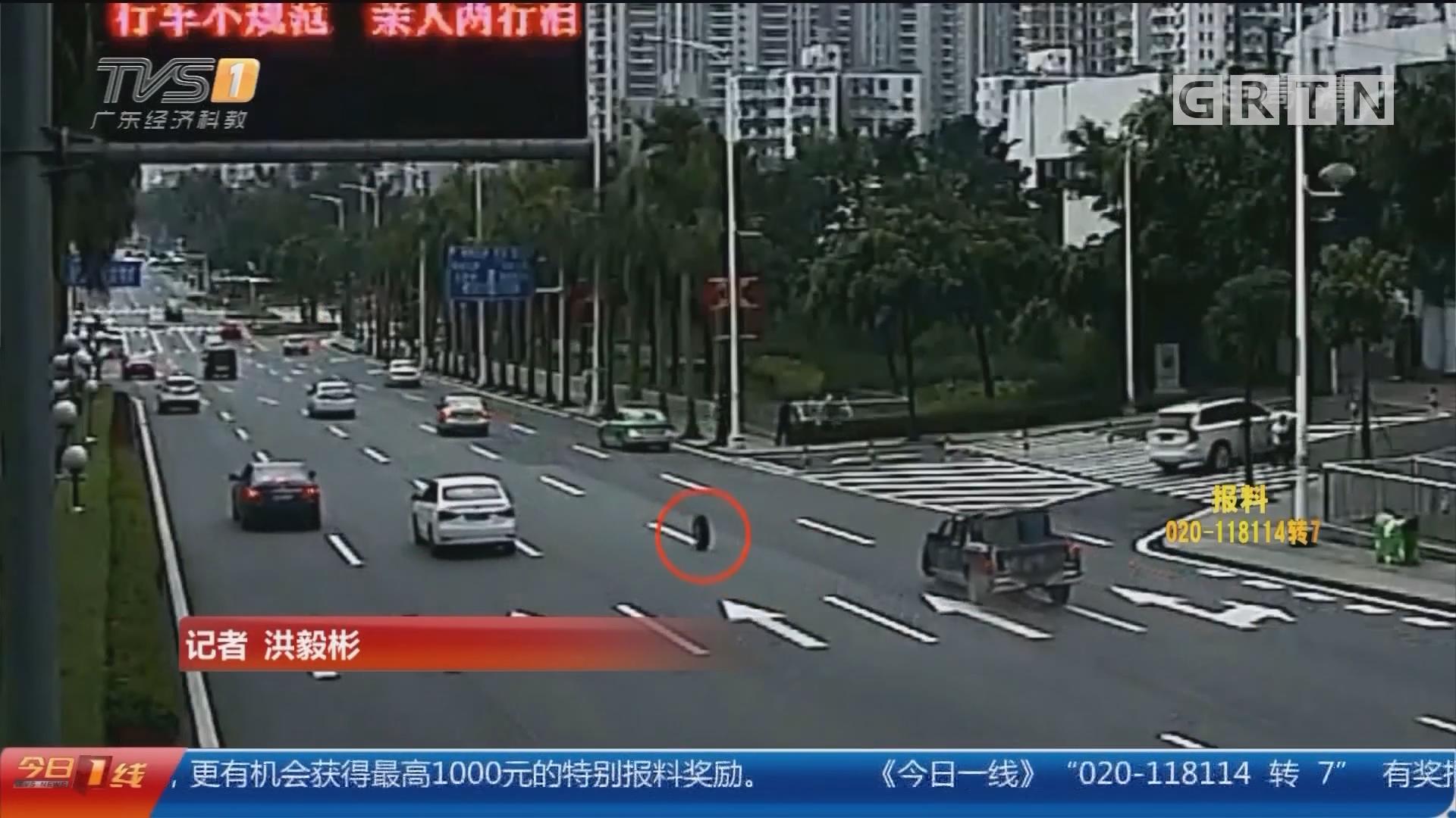"""珠海:车轮""""出逃"""" 四轮车""""秒变""""三轮车"""