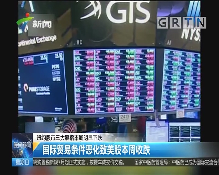纽约股市三大股指本周明显下跌:国际贸易条件恶化致美股本周收跌
