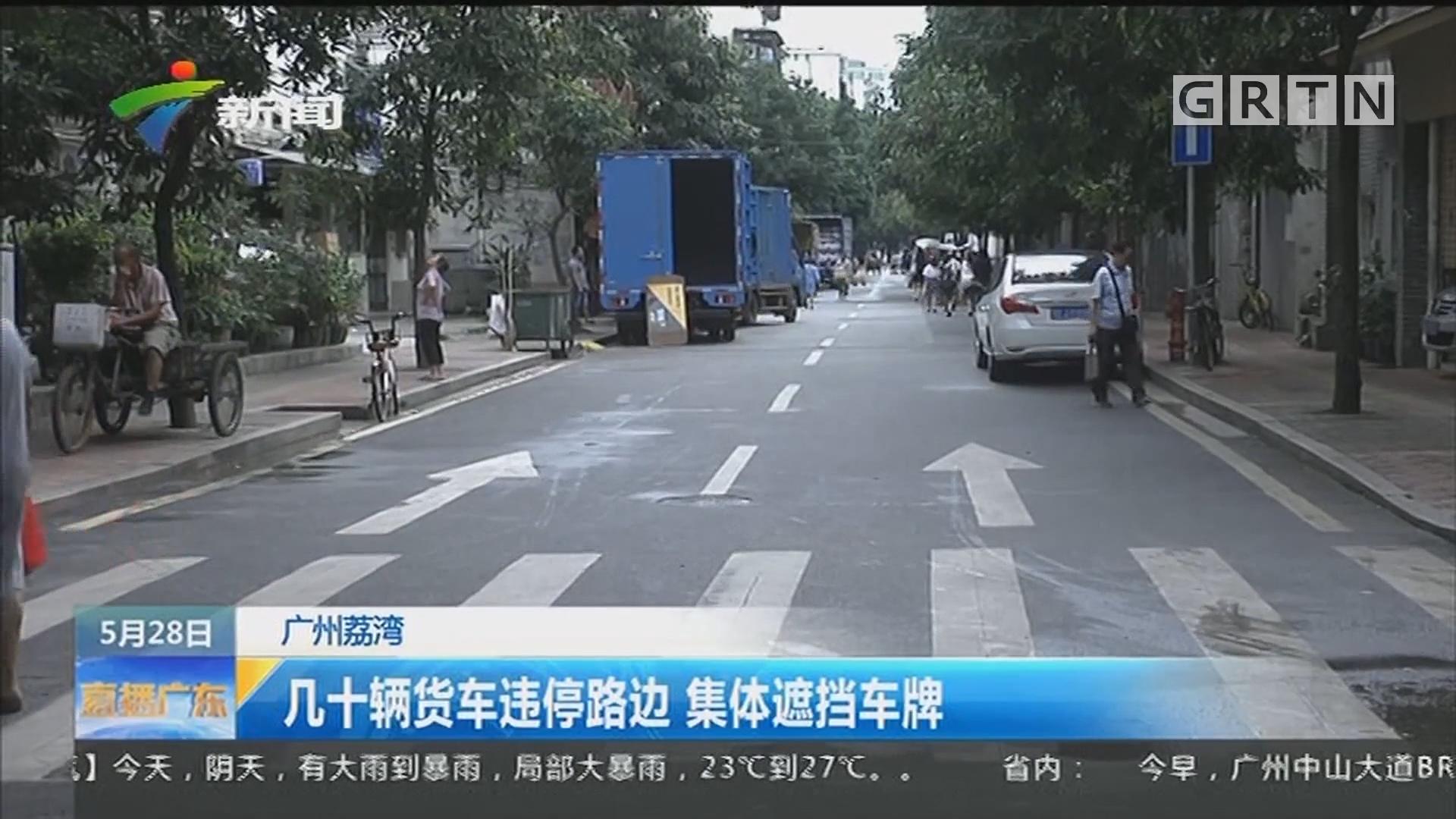 广州荔湾:几十辆货车违停路边 集体遮挡车牌