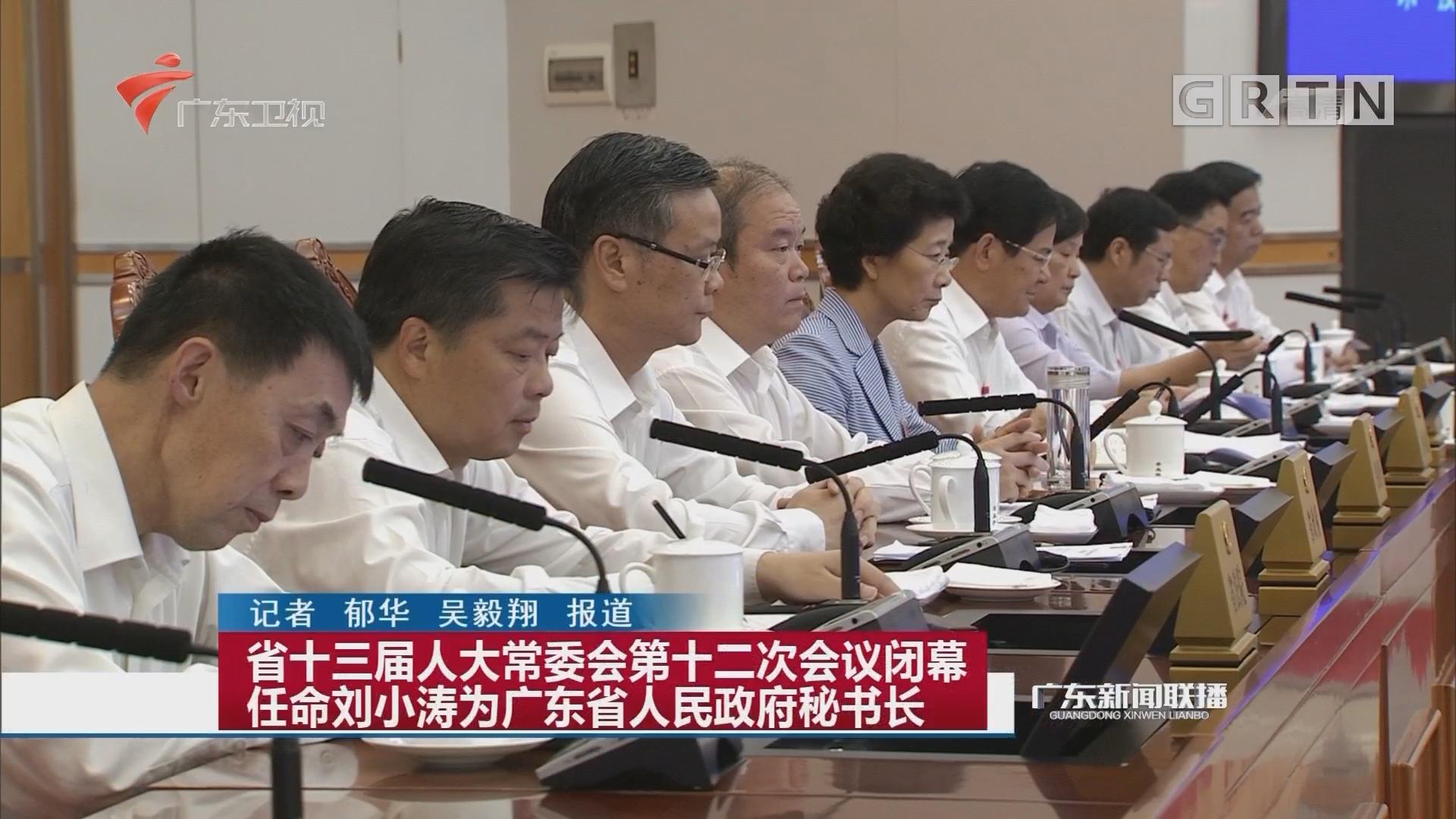 省十三屆人大常委會第十二次會議閉幕 任命劉小濤為廣東省人民政府秘書長
