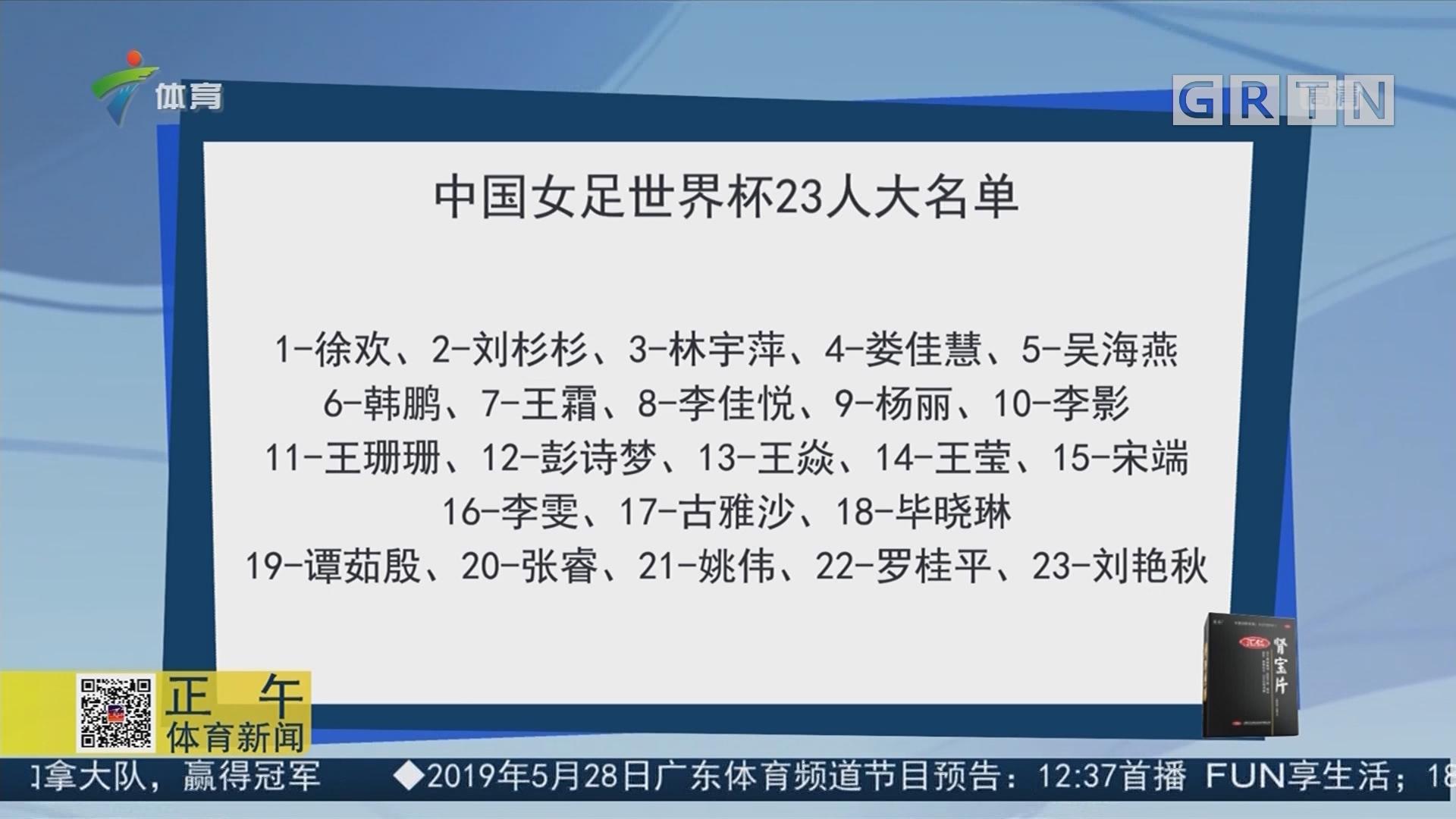 中国女足世界杯23人大名单