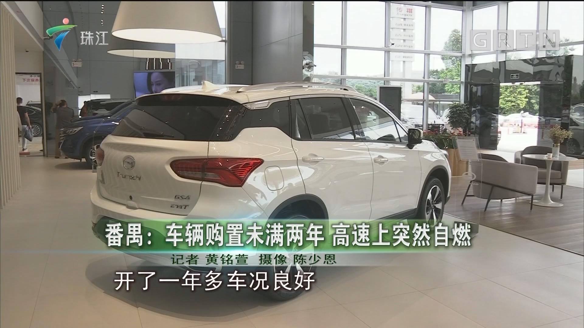 番禺:車輛購置未滿兩年 高速上突然自燃