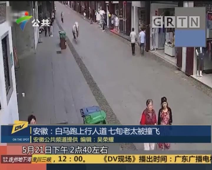 安徽:白马跑上人行道 七旬老太被撞飞