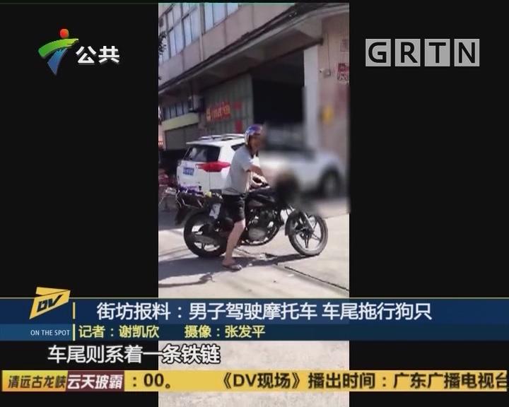 街坊报料:男子驾驶摩托车 车尾拖行狗只