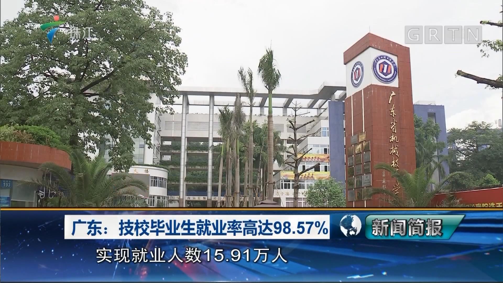 广东:技校毕业生就业率高达98.57%