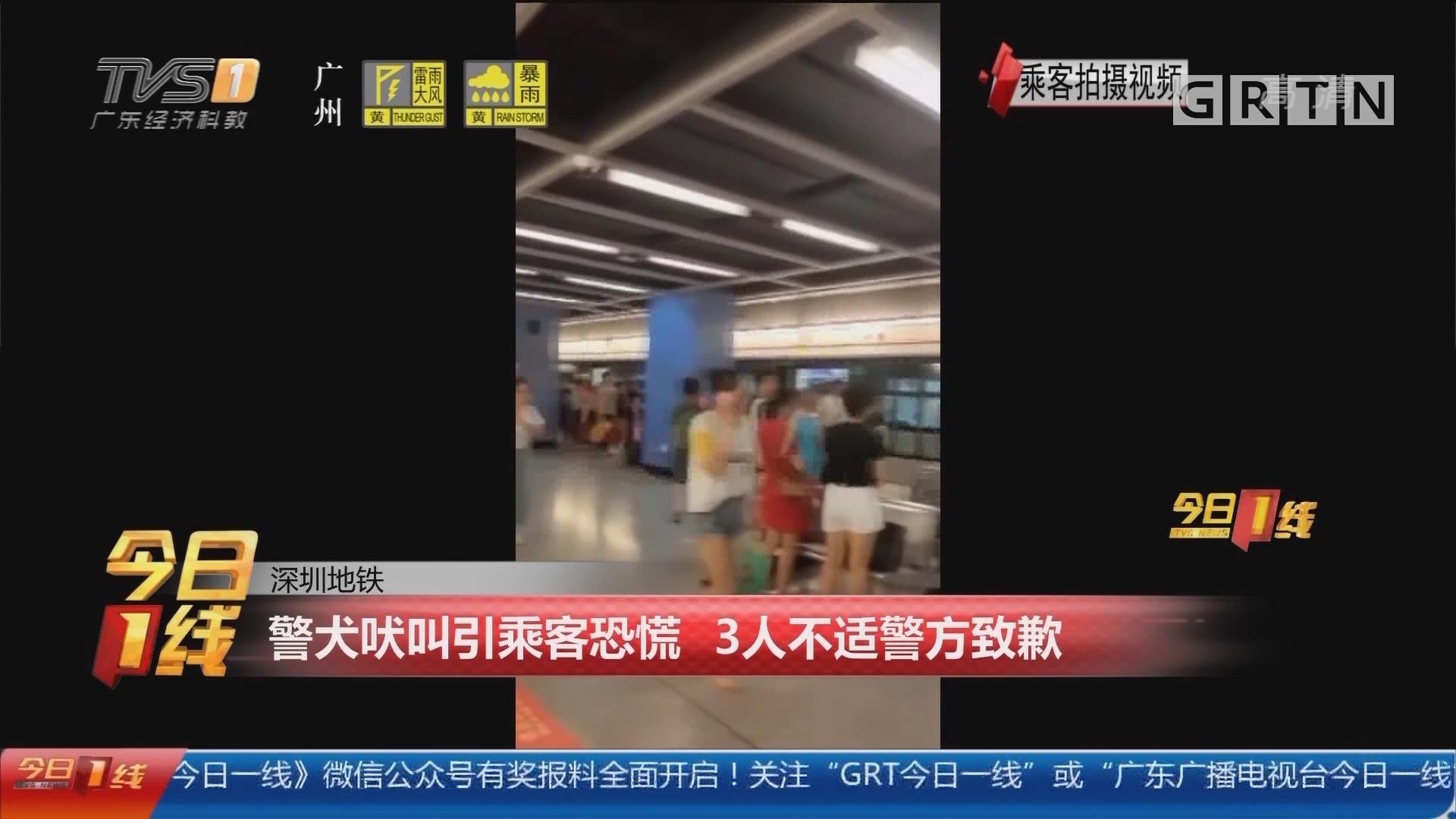 深圳地铁:警犬吠叫引乘客恐慌 3人不适警方致歉