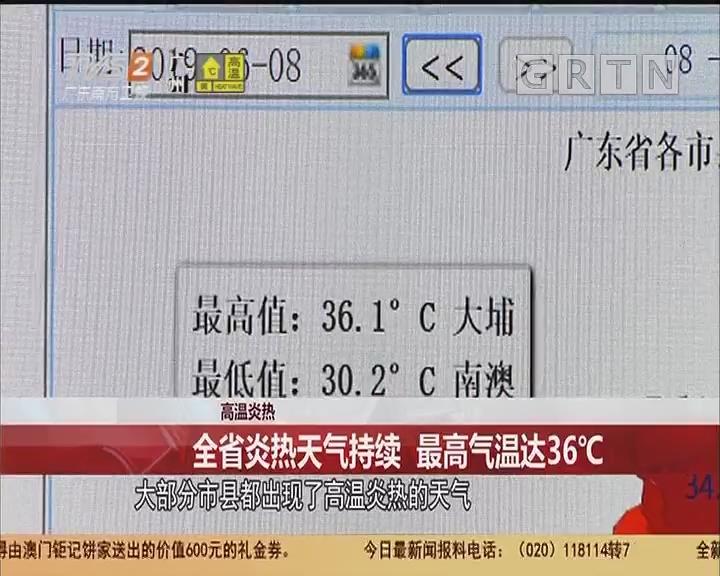 高温炎热:全省炎热天气持续 最高气温达36℃