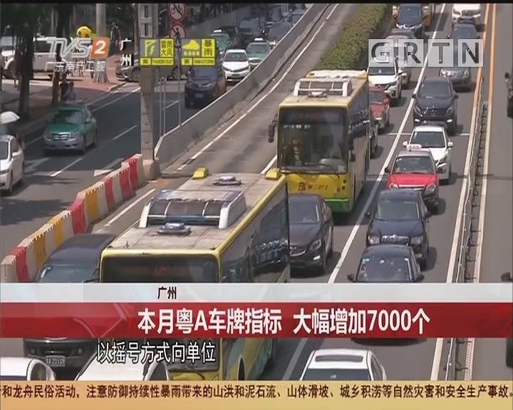 广州:本月粤A车牌指标 大幅增加7000个