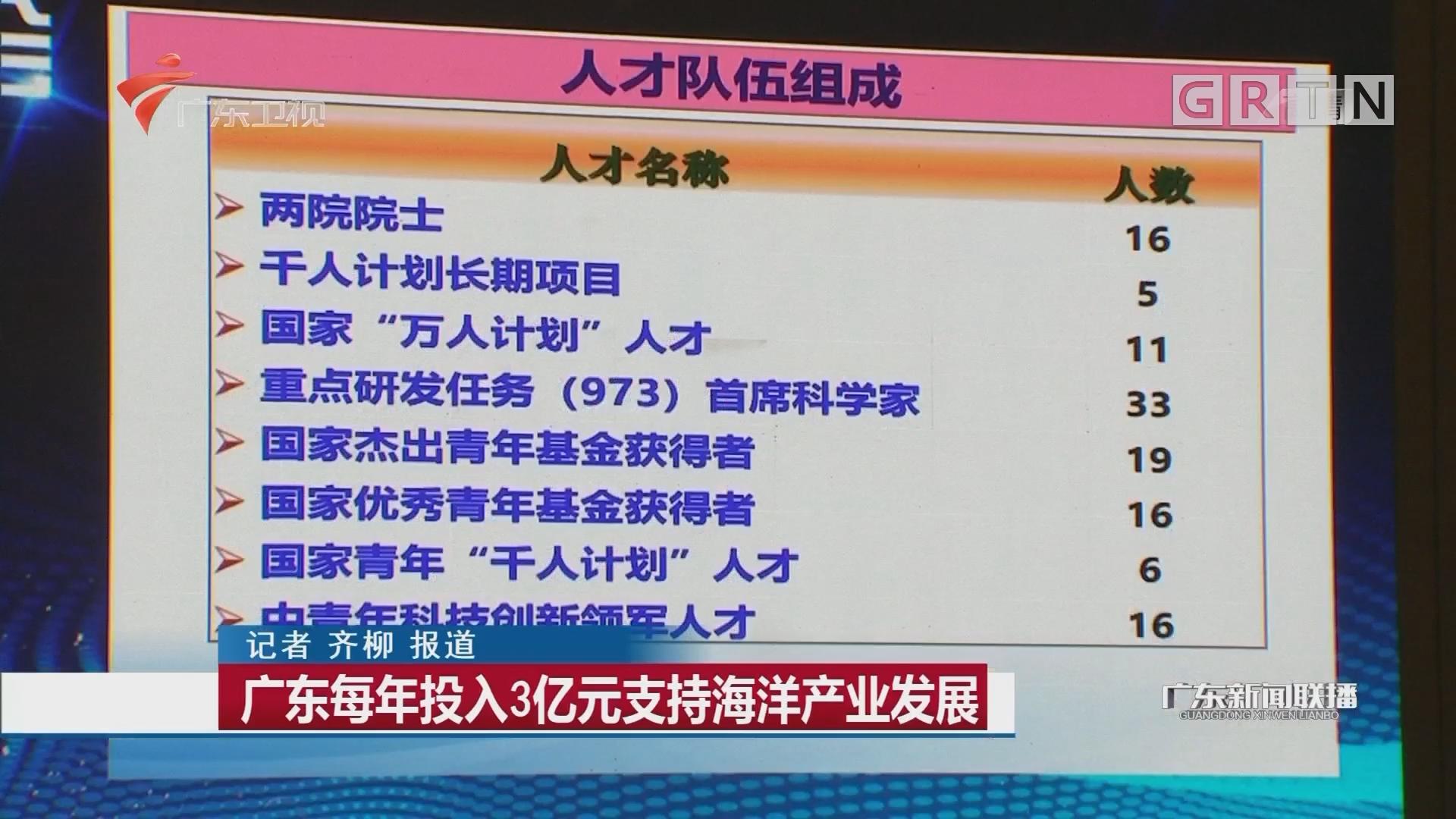 广东每年投入3亿元支持海洋产业发展