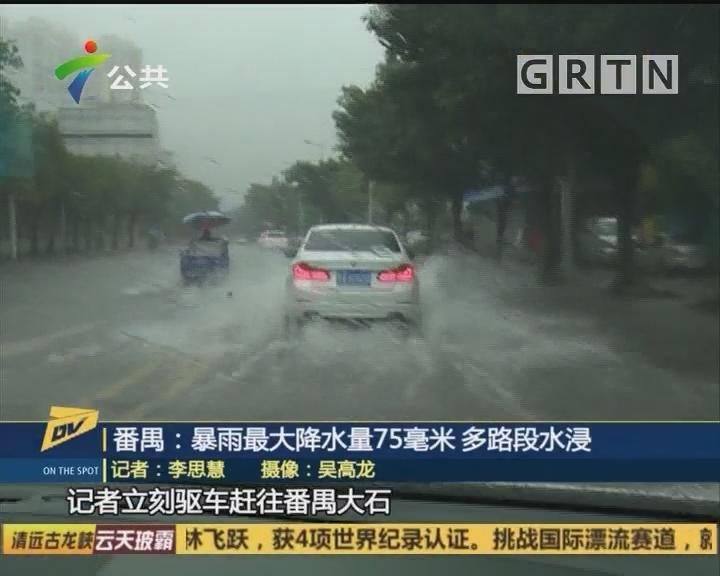 番禺:暴雨最大降水量75毫米 多路段水浸