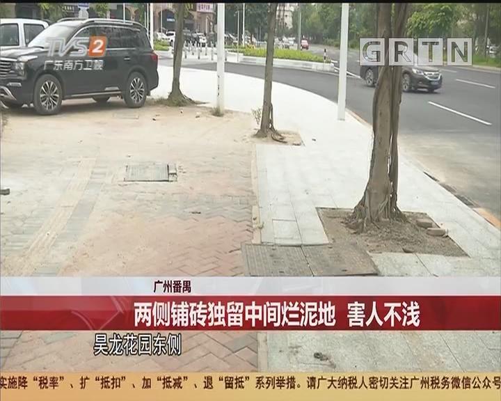 广州番禺:两侧铺砖独留中间烂泥地 害人不浅