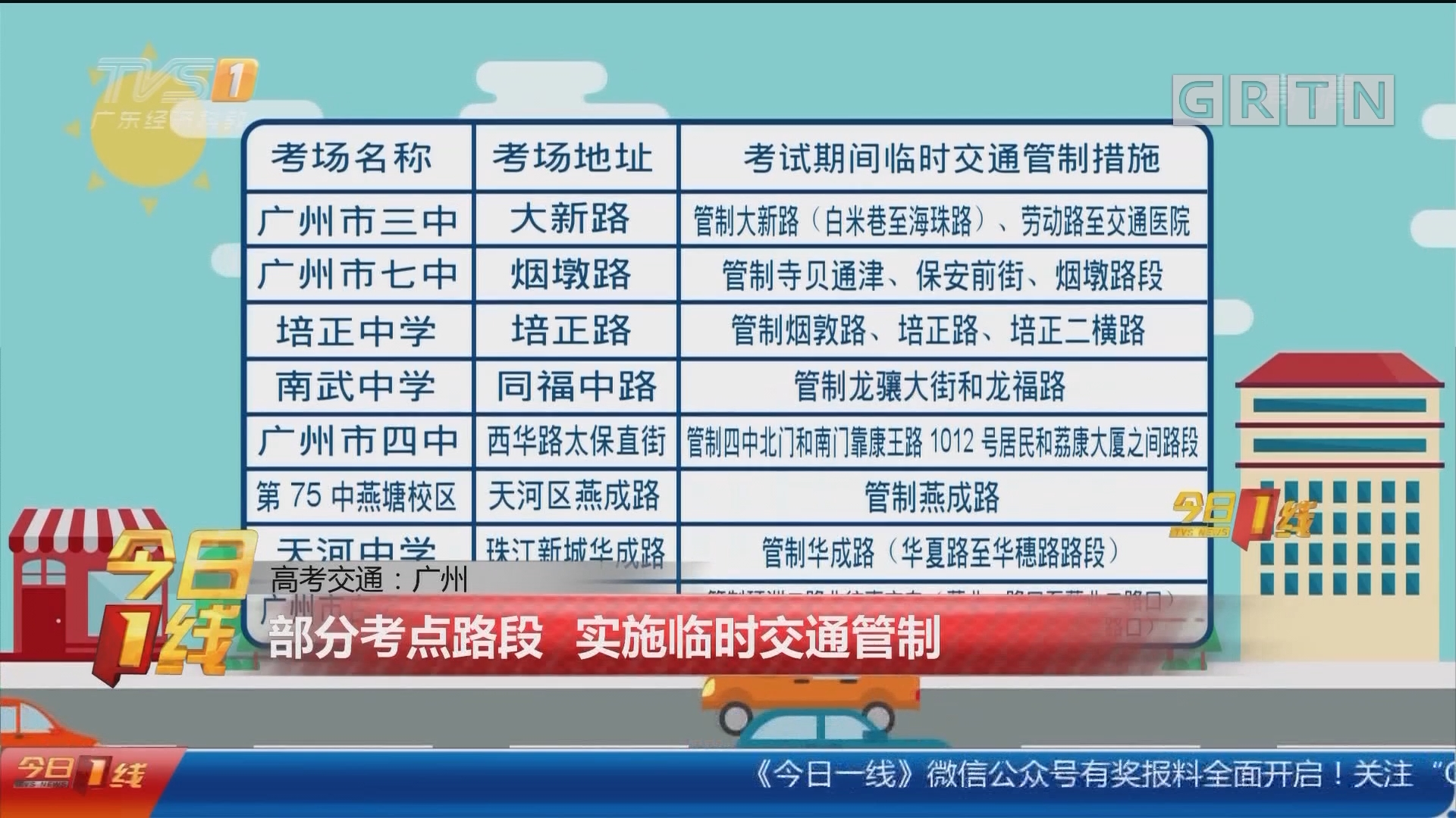 高考交通:广州 部分考点路段 实施临时交通管制
