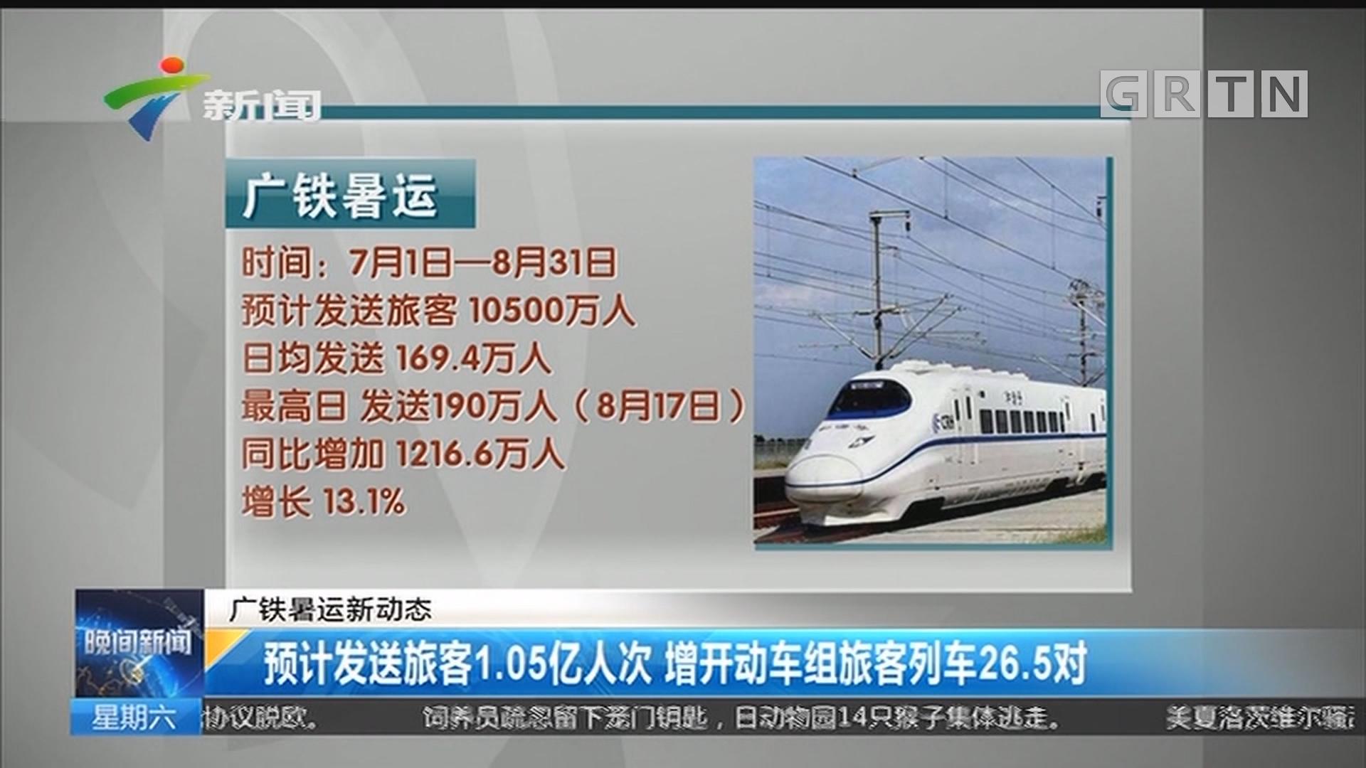 广铁暑运新动态:预计发送旅客1.05亿人次 增开动车组旅客列车26.5对