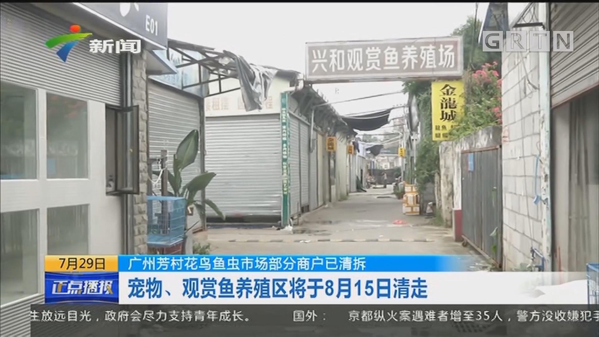 广州芳村花鸟鱼虫市场部分商户已清拆:喜鹊路西边第一排档位已清拆