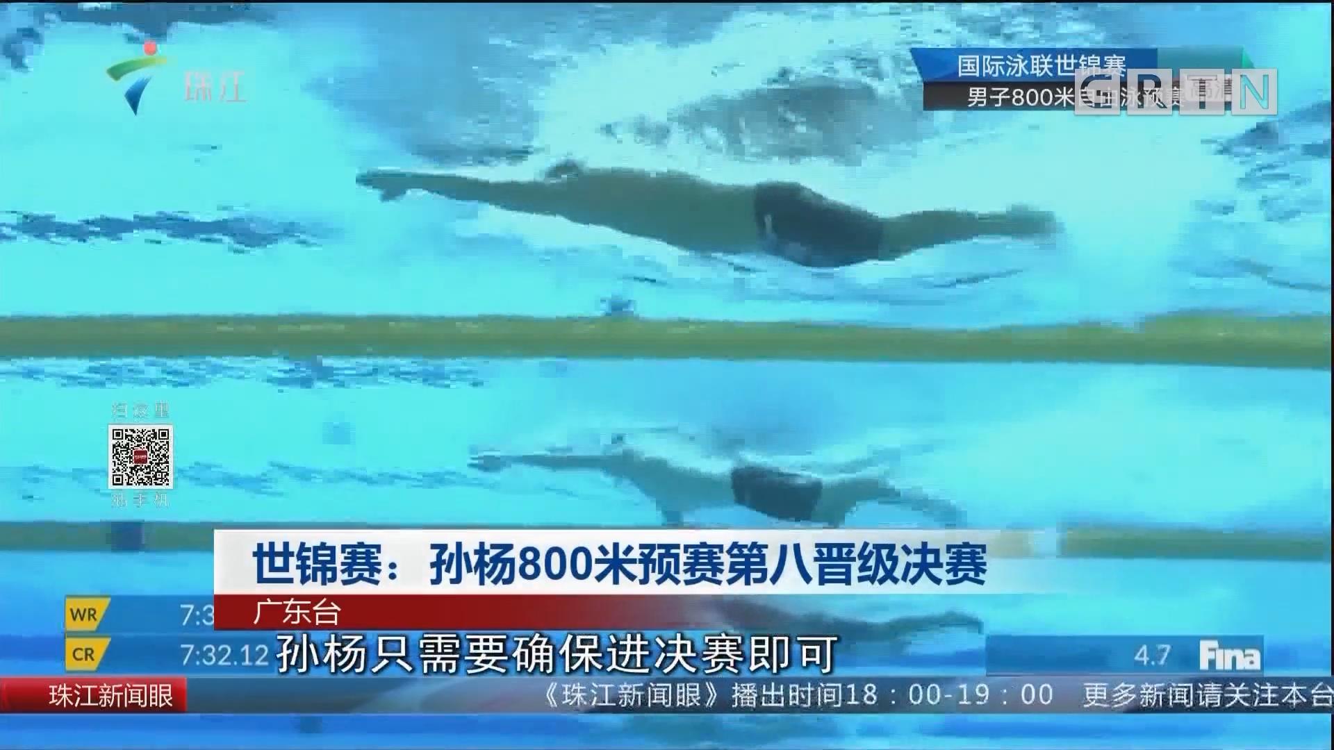 世锦赛:孙杨800米预赛第八晋级决赛