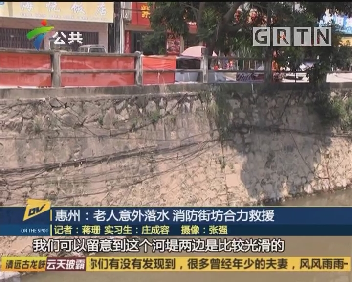 惠州:老人意外落水 消防街坊合力救援