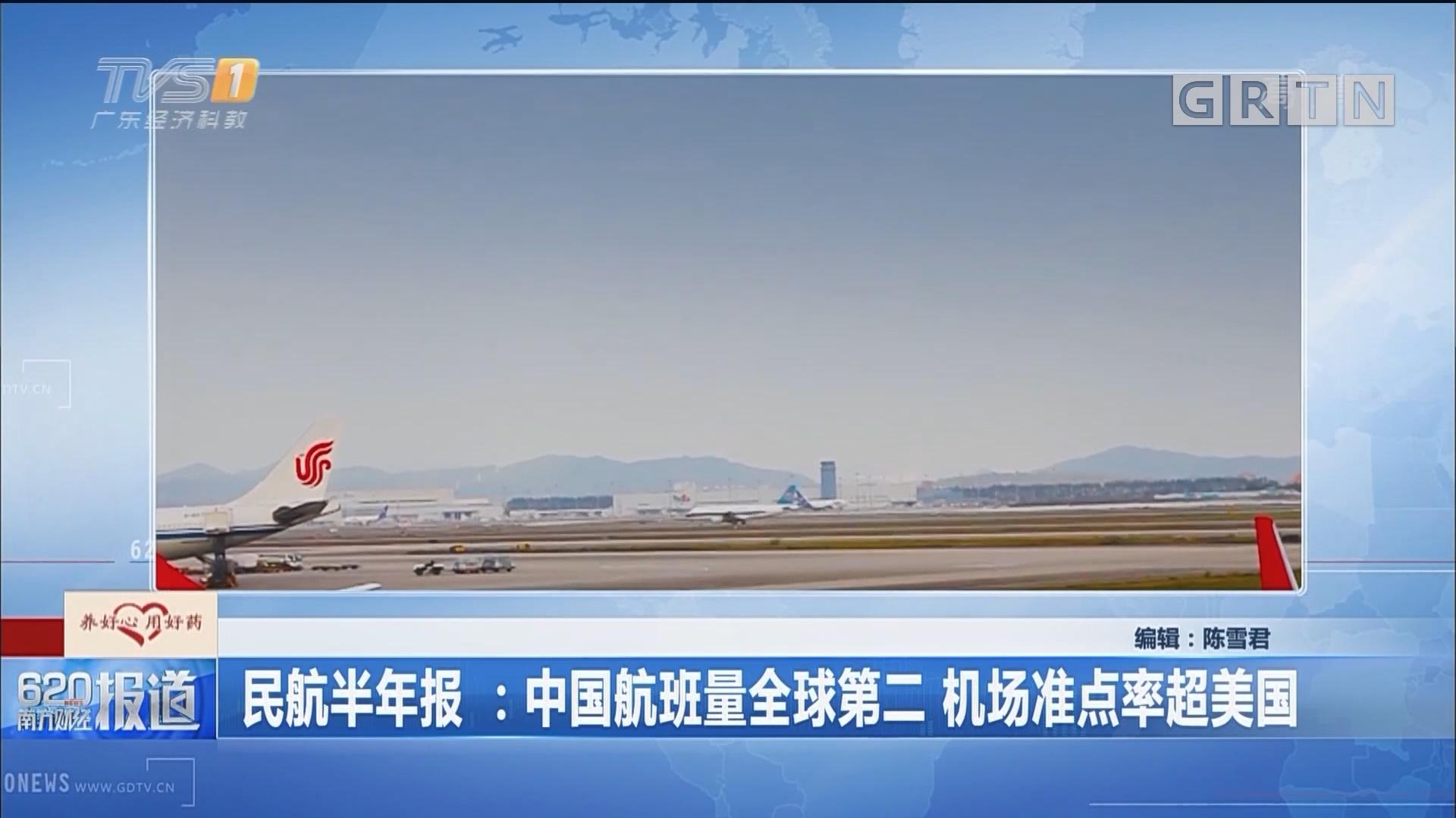 民航半年报:中国航班量全球第二 机场准点率超美国