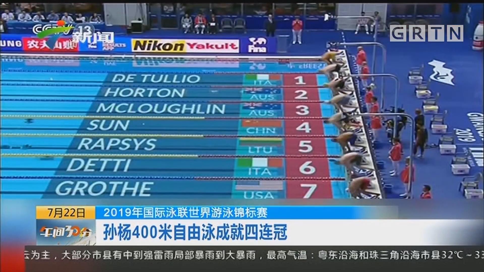 2019年国际泳联世界游泳锦标赛:孙杨400米自由泳成就四冠王
