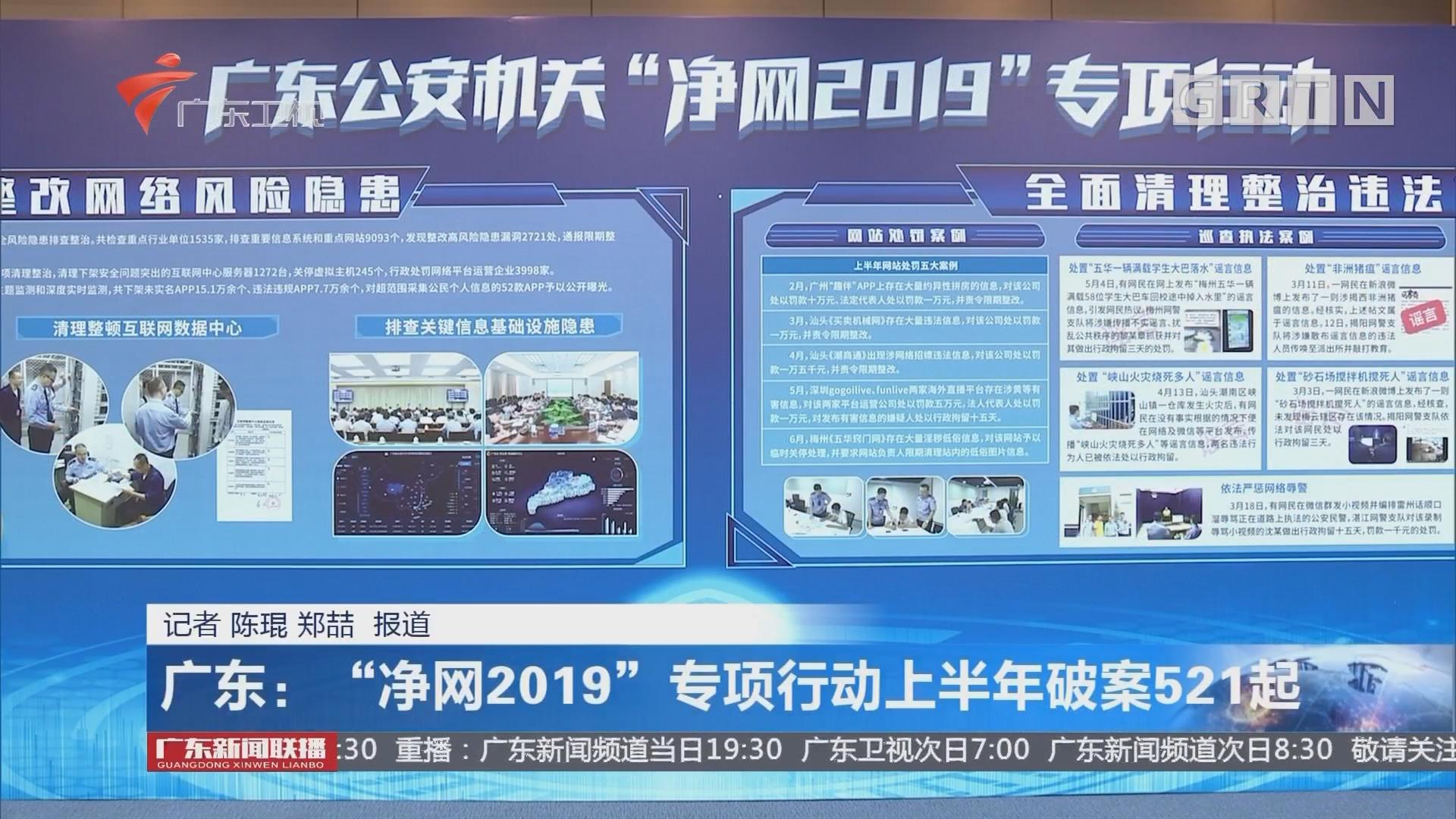 """广东:""""净网2019""""专项行动上半年破案521起"""