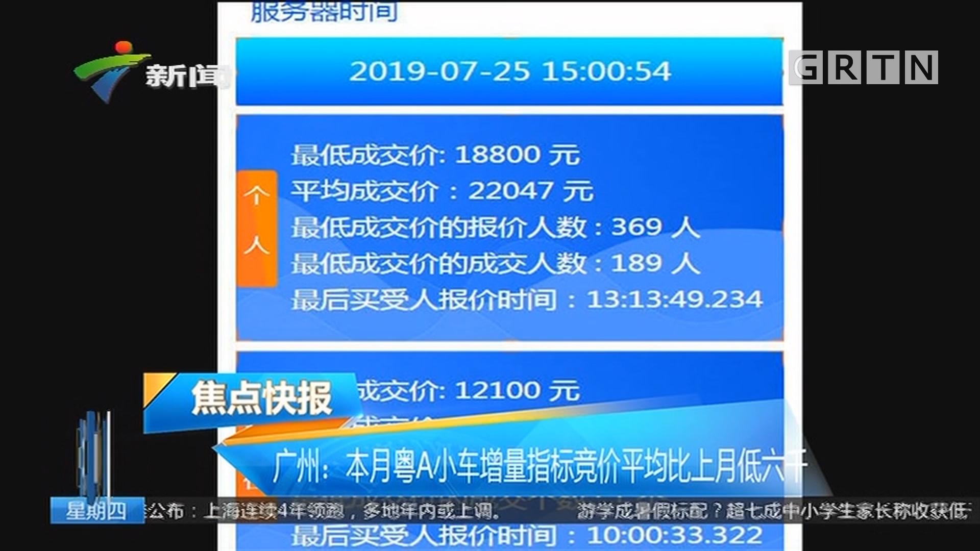 广州:本月粤A小车增量指标竞价平均比上月低六千