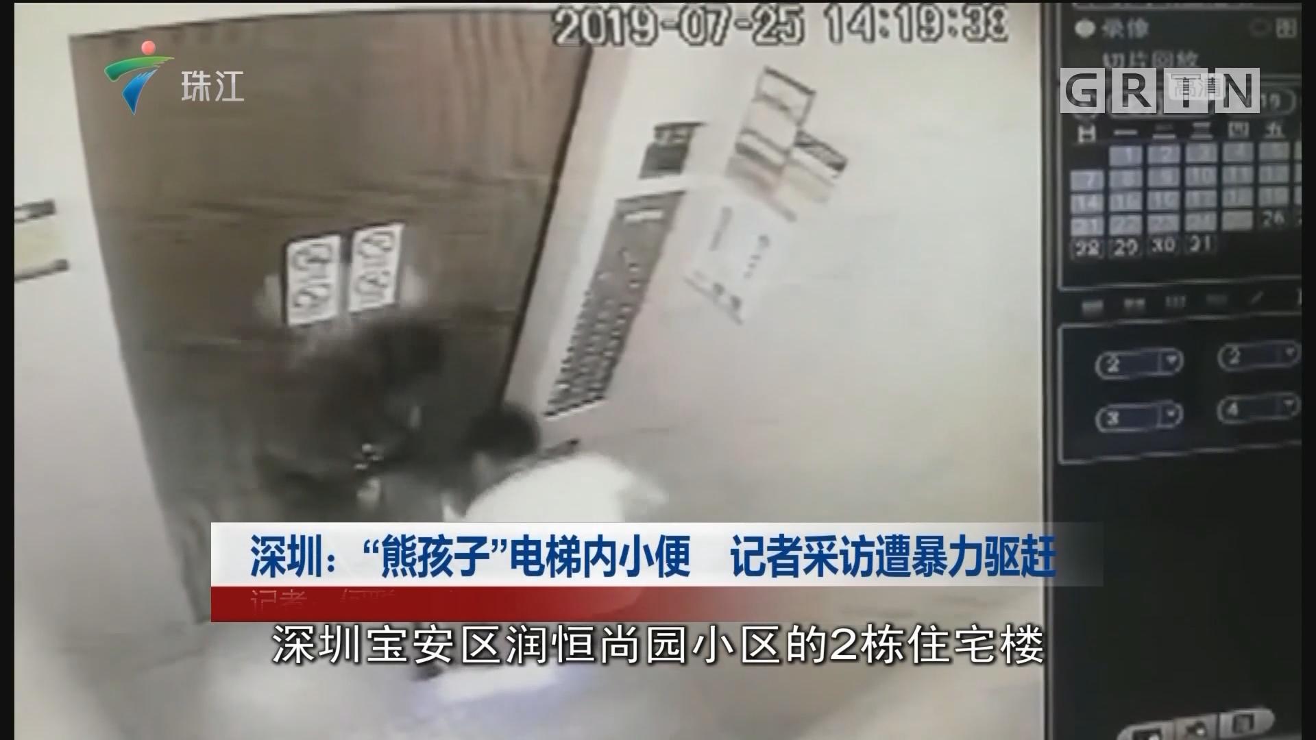 """深圳:""""熊孩子""""電梯內小便 記者采訪遭暴力驅趕"""
