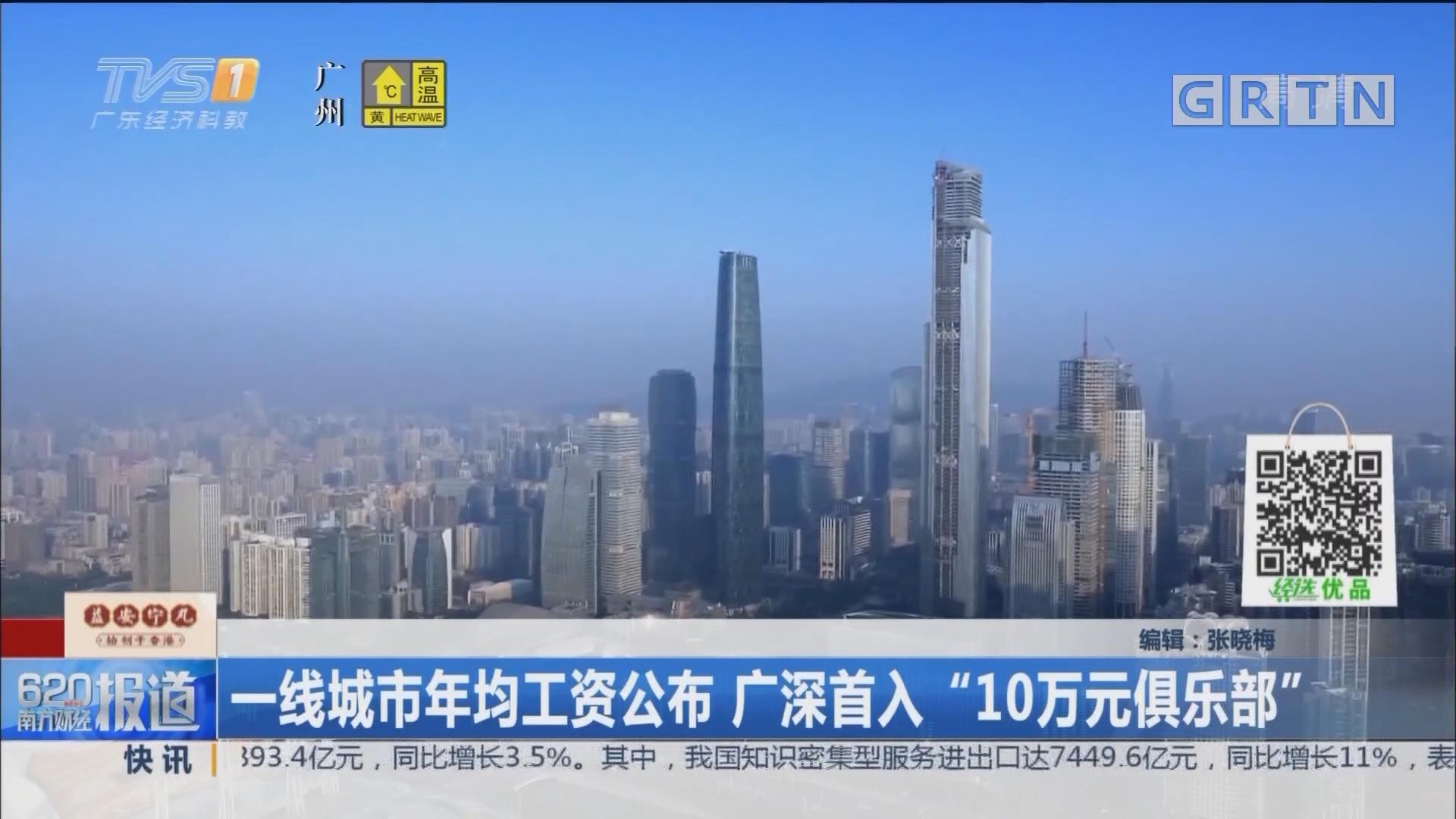 """一线城市年均工资公布 广深首入""""10万元俱乐部"""""""